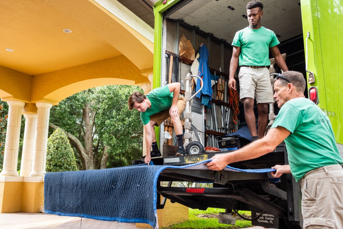 A Breeze Movers setting up a moving truck