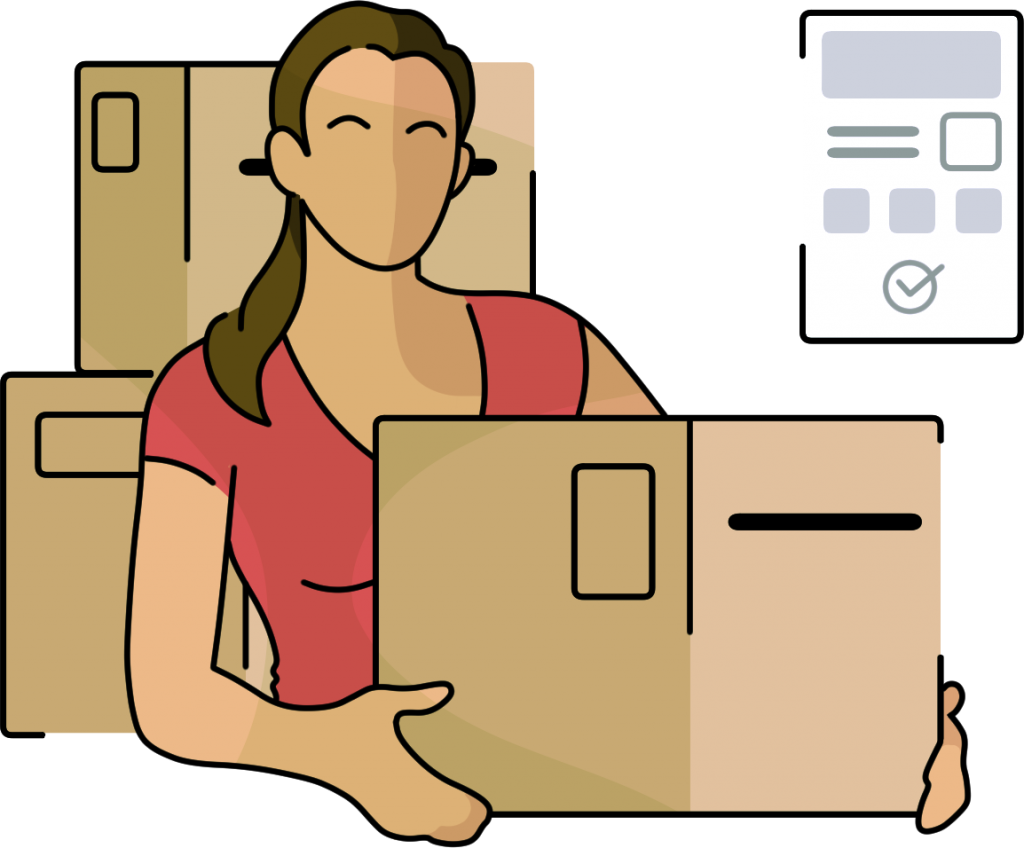 a graphic of a person holding a moving box with a checklist in the background